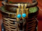 Cercei turcoaz cu accesoriu libelula