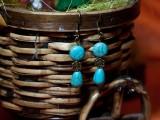 Cercei turcoaz cu accesorii patinate